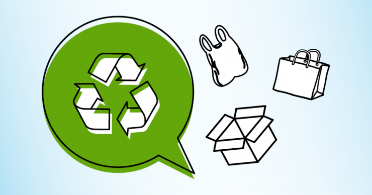 Recycling and bag icons