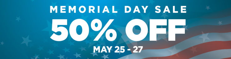 Graphic image with large white text stating that there is a big Memorial Day sale at Goodwill where you can save 50% off storewide all weekend, May 25th through the 27th