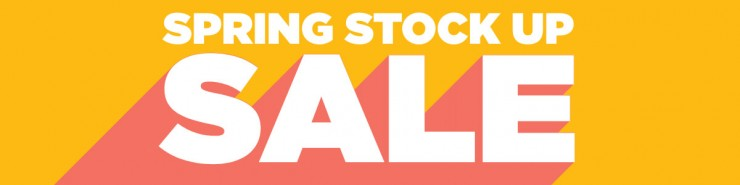 "White text stating ""Spring stock up sale"" on yellow and red background."