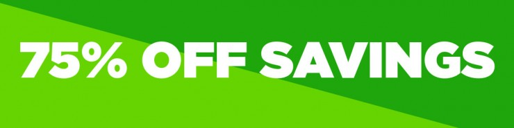 White text on green background stating 75% off sale